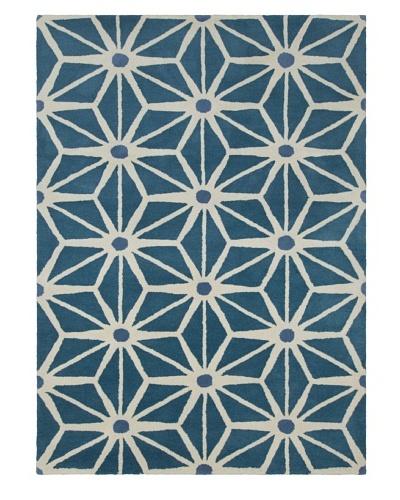 Chandra Geo Hand-Tufted Rug, Blue/White, 5' x 7'