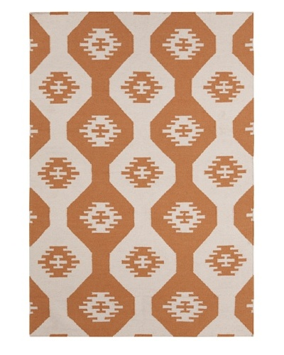 Chandra Allman Rug, Beige/Orange, 5' x 7'