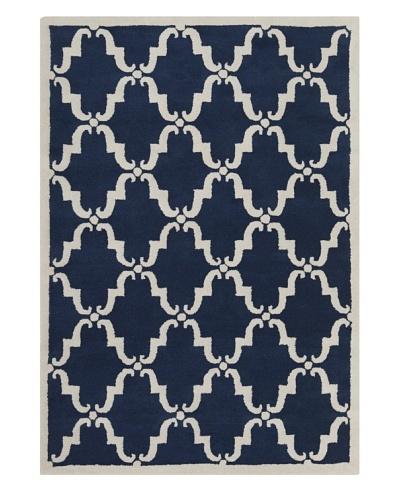 Chandra Iris Hand-Tufted Rug, Blue/White, 7' x 10'