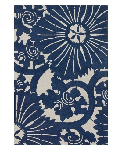 Chandra Counterfeit Studio Hand Tufted Wool Rug [Navy/White]