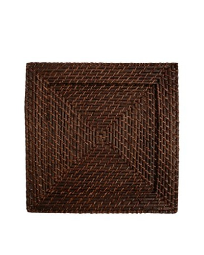 Charge It! by Jay Set of 4 Rattan Charger Plates, Brown, 13 x 13