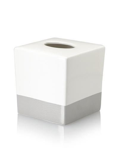 Charisma Classic Stripe Tissue Box, White