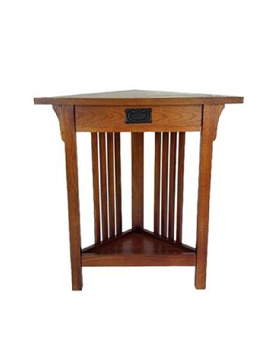 Charleston Corner Table, Oak Finish