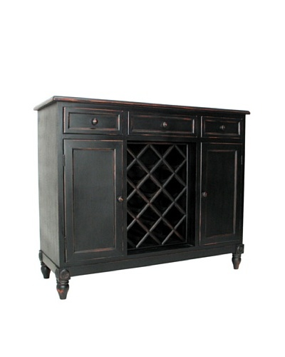 Charleston Sideboard with Wine Rack, Antique Black