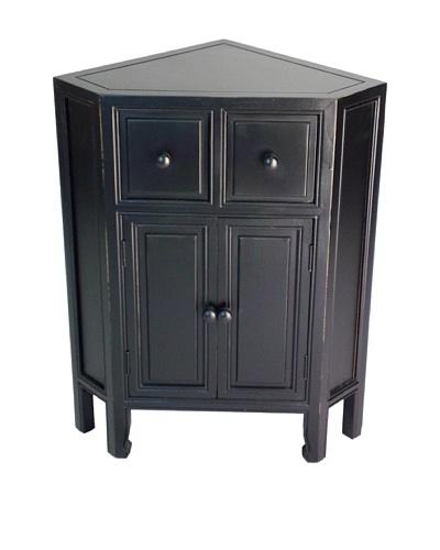 Charleston Suchow Corner Cabinet, Antique Black