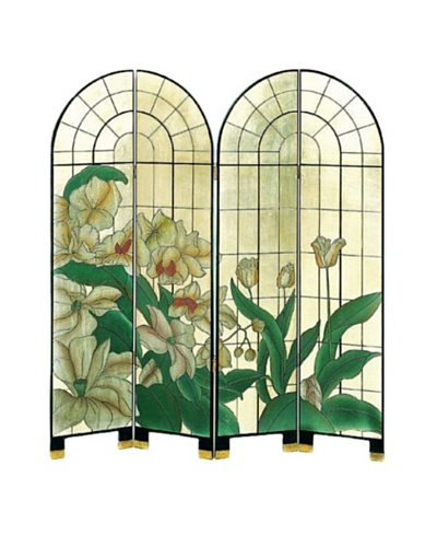 Charleston 4-Panel Arched Window of Fragrance Screen, Multi