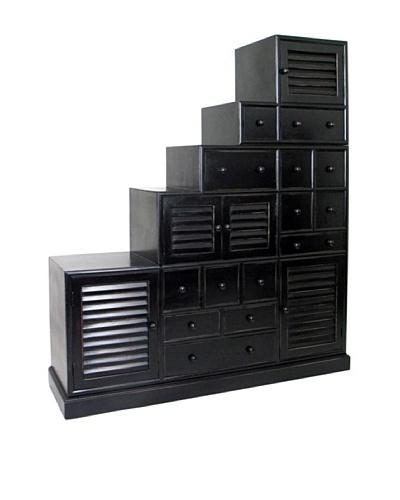 Charleston Tonsu Step Cabinet, Antique Black