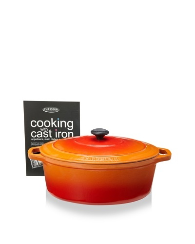 Chasseur Oval Cast Iron Casserole with Lid [Orange Flame]