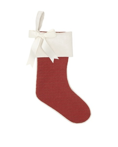 Chateau Blanc Solid with Piping Stocking, Red