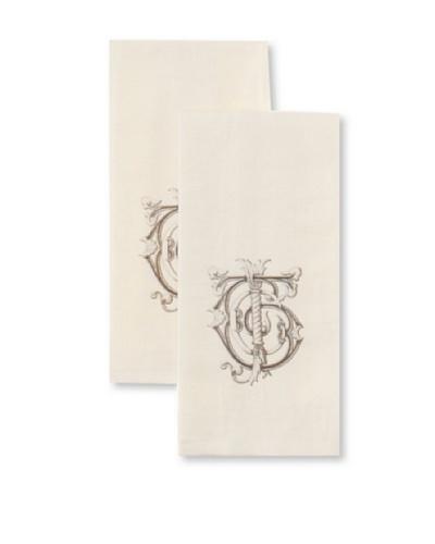 Chateau Blanc Monogrammed Hand Towels, Cream, 13 x 24