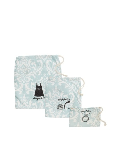 Chateau Blanc Set of 3 Sonoma Printed Bags, Aqua/White