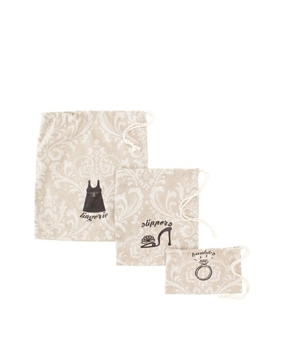 Chateau Blanc Set of 3 Kingston Printed Bags, Neutral