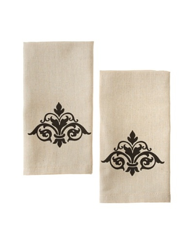 Chateau Blanc Set of 2 Damask Hand Towels, Neutral