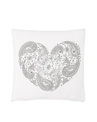 Chateau Blanc Paisley Heart Pillow, White, 20 x 20