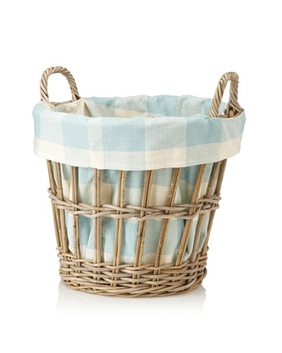 Chateau Blanc Sonoma Large Rattan Basket, Brown/Aqua/White