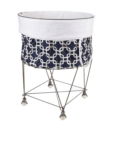 Chateau Blanc Nantucket Large Wire Hamper, Navy/White