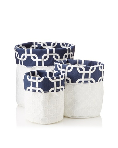 Chateau Blanc Set of 3 Natalie Fabric Storage Bags, White/Navy