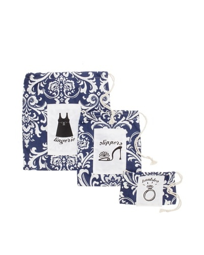 Chateau Blanc Set of 3 Nantucket Printed Bags, Navy/White