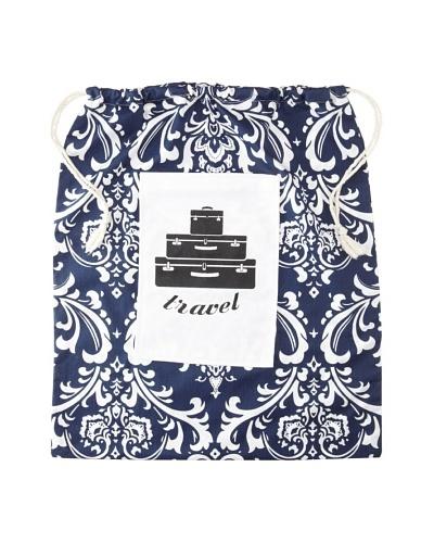 Chateau Blanc Nantucket Extra Large Printed Drawstring Bag, Navy/White, 20 x 25
