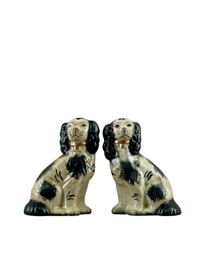 Oriental Danny Pair of Black and White Dogs with Collars