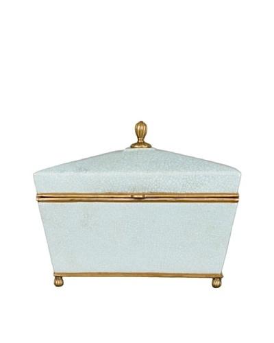 Oriental Danny Crackled Porcelain and Bronze Box, Blue