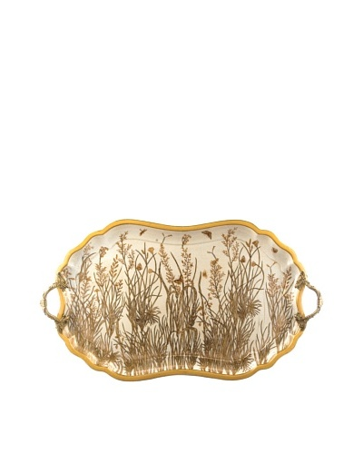 Oriental Danny Porcelain Tray with Bronze Handle, Gold Dusk