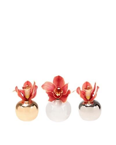 Chive Set of 3 Jojo Sphere Vases, Silver/Gold/White