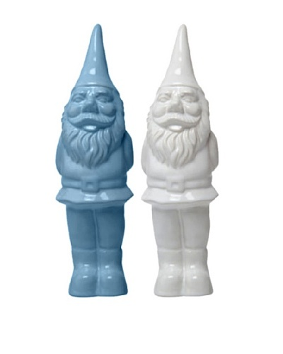 Chive Set of 2 Ceramic Garden Gnomes, Cobalt/White