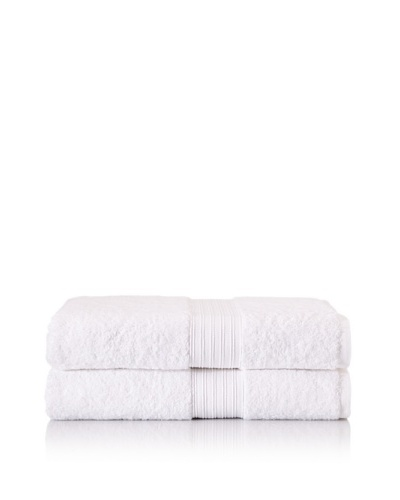 "Chortex Set of 2 Indulgence Bath Sheets, White, 35"" x 60"""