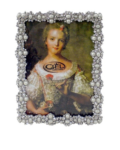 Ciel Austrian Crystal & Pearl 5 x 7 Picture Frame, Pewter