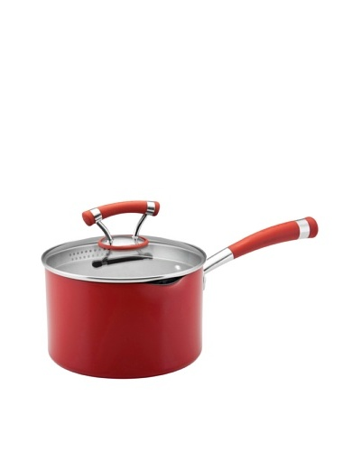 Circulon Contempo Non-Stick Covered Straining Saucepan [Red]