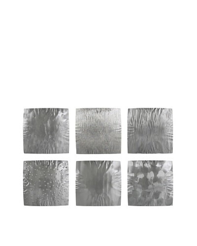 "C'Jere by Artisan House 6-Piece ""Silver Squares"" Hammered & Flame Colored Steel Wall I..."