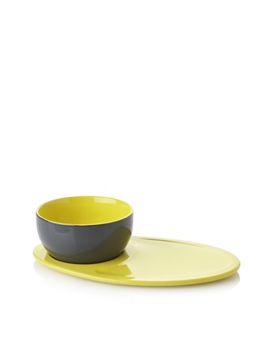 Classic Coffee & Tea Botero Soup Bowl & Sandwich Tray, Dark Grey/Yellow