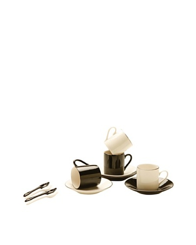 Classic Coffee & Tea Set of 4 Cup & Saucers With Spoons, Black/White