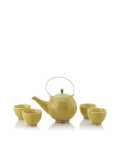 Classic Coffee & Tea Japanese Teapot with 4 Tea Cups, Yellow, 27-Oz.