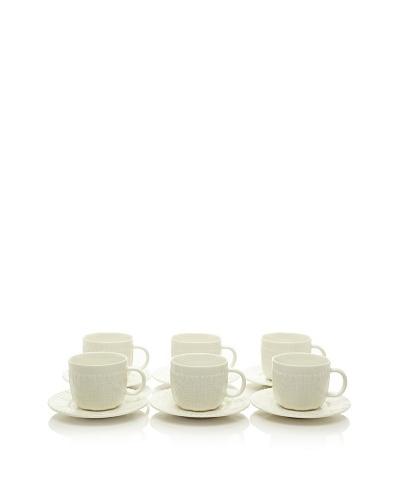 Classic Coffee & Tea Set of 6 Sweater Collection 3.5-Oz. Espresso Cups & Saucers
