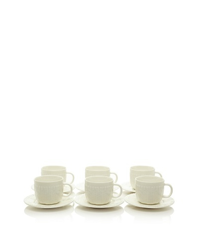 Classic Coffee & Tea Set of 6 Sweater Collection 7-Oz. Tea Cups & Saucers