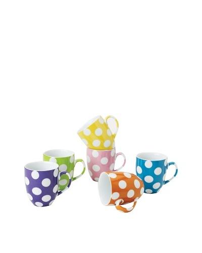Classic Coffee & Tea Set of 6 White Dots Mugs, Assorted, 9-Oz.