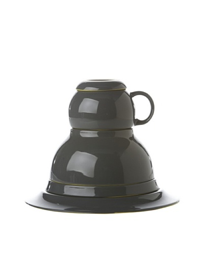 Classic Coffee & Tea Botero Dinner For One Set, Dark Grey/Yellow