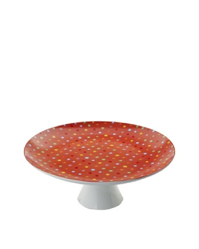 Classic Coffee & Tea Polka-Dot Footed Platter, Red, 12