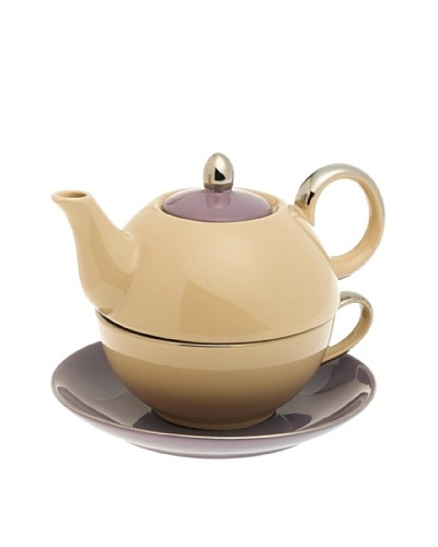 Classic Coffee & Tea Siena Tea For One With Saucer, Beige/Purple
