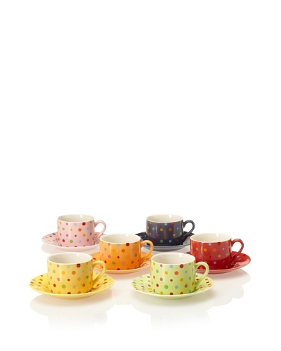 Classic Coffee & Tea Set of 6 Polka-Dot Tea Cups & Saucers, Assorted, 7-Oz.