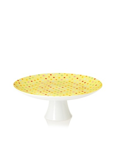 "Classic Coffee & Tea Polka-Dot Cake Stand, Yellow, 12"""