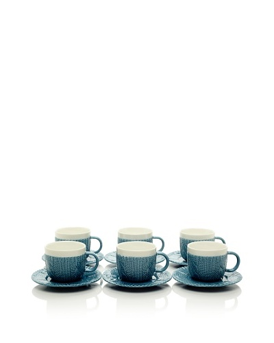 Classic Coffee & Tea Set of 6 Sweater Collection 3.5-Oz. Espresso Cups & Saucers