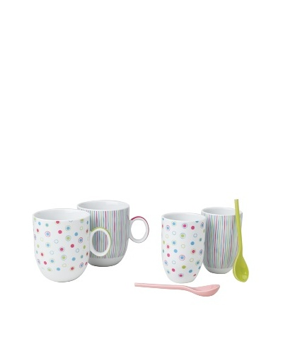 Classic Coffee & Tea Set of 2 Candies Tea Cups with Spoons, Assorted, 7-Oz.