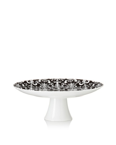 Classic Coffee & Tea Nouveau Chic 12 Footed Cake Platter, Black/White
