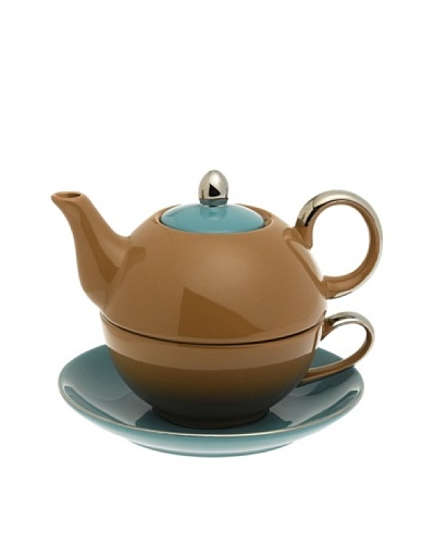 Classic Coffee & Tea Siena Tea For One With Saucer, Brown/Teal