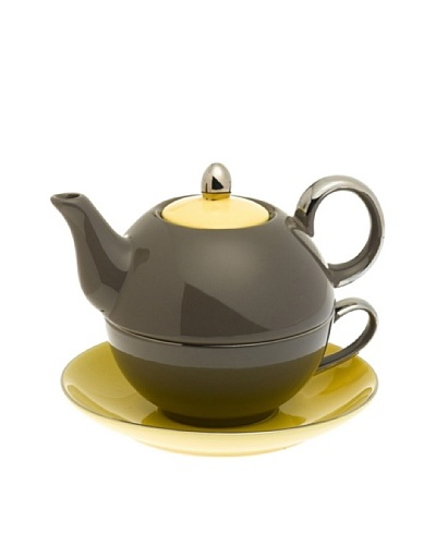 Classic Coffee & Tea Siena Tea For One With Saucer, Dark Grey/Yellow