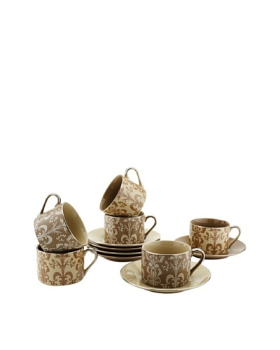Classic Coffee & Tea Set of 6 Nouveau Chic Cups & Saucers