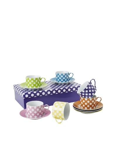 Classic Coffee & Tea Set of 6 White Dots Tea Cups & Saucers, Assorted, 7-Oz.
